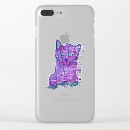 Glitchy Kitty Clear iPhone Case