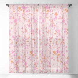 Terrazzo paper - pink Sheer Curtain