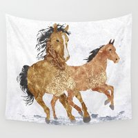 horses Wall Tapestries featuring Horses by Christopher Bennett