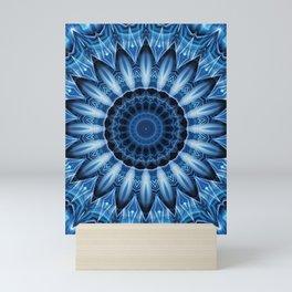 Mandala cool blue Mini Art Print