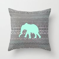 mint Throw Pillows featuring Mint Elephant  by Sunkissed Laughter