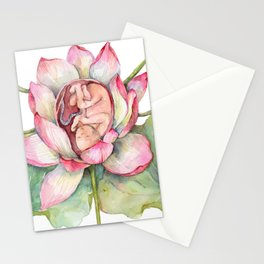 Cute Baby in a Lotus, Spring Blossom Stationery Cards