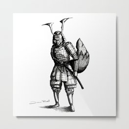 Samurai Fox Metal Print