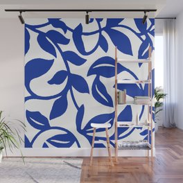 PALM LEAF VINE SWIRL BLUE AND WHITE PATTERN Wall Mural