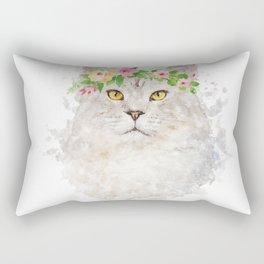 Boho cat portrait with flower crown Rectangular Pillow