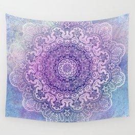 big beauty mandala in pale blues Wall Tapestry