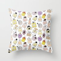 perfume Throw Pillows featuring Perfume by thedreamingclouds