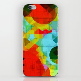 geometric square pixel and circle pattern abstract in red blue yellow iPhone Skin