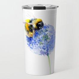 Bee and Flower, Blue Yellow Bumblebee Art Travel Mug
