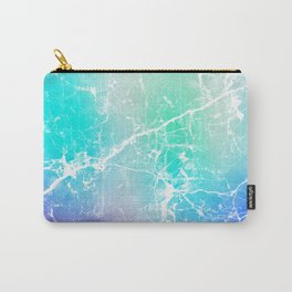 Modern turquoise purple watercolor abstract marble Carry-All Pouch