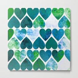 Mod Green & Blue Grungy Hearts Design Metal Print