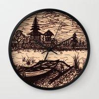 bali Wall Clocks featuring Bali Boating by Erica Putis