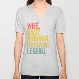 Best Mother Women Funny Gift T Shirt Wife Baby Momma Origami Legend Unisex V-Neck