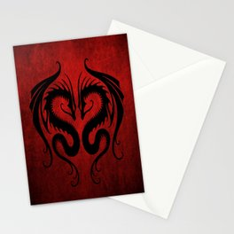 Black and Red Twin Tribal Dragons Stationery Cards