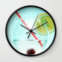 Cocktail with lemon slice, cherry and a straw Wall Clock