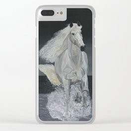 White Horse Freedom Clear iPhone Case