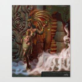 Steampunk Aztec Queen Canvas Print