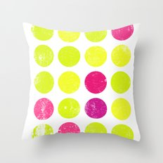 Yellow and Pink Dots Throw Pillow
