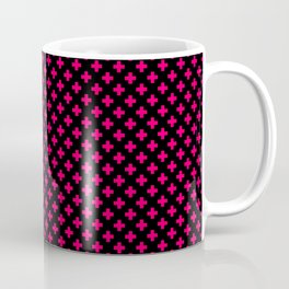Small Hot Neon Pink Crosses on Black Coffee Mug