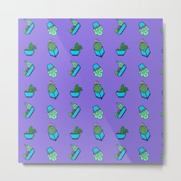 cactus on violet background Metal Print