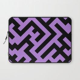Black and Lavender Violet Diagonal Labyrinth Laptop Sleeve