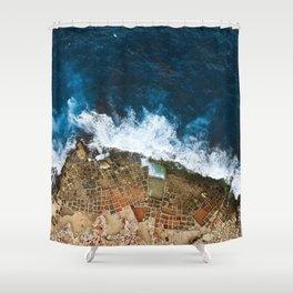 An aerial shot of the Salt Pans in Marsaskala Malta Shower Curtain