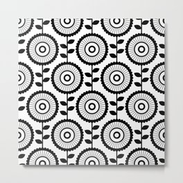 Scandinavian Florals on White Background Metal Print