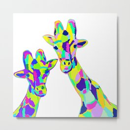 Abstract Cute Giraffe with Neon Colorful Spots Metal Print