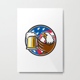 Bald Eagle Hoisting Beer Stein USA Flag Circle Retro Metal Print