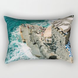 "Travel photography print ""Rocky Beach"" photo art made in Italy. Art Print Rectangular Pillow"