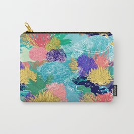 Cute colorful ocean coral reefs and turtles design Carry-All Pouch