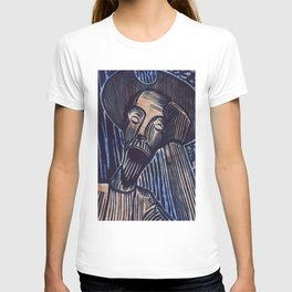 Don Quixote in Blue and Rust T-shirt