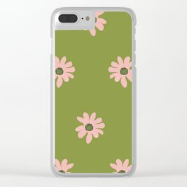 Colorful retro home decor and textile design flower pattern on olive Clear iPhone Case