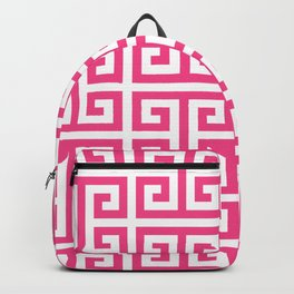 Large Pink and White Greek Key Pattern Backpack