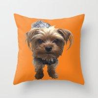 terrier Throw Pillows featuring Terrier by Pop Art Pet Portraits