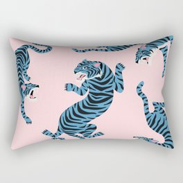 Pastel Pink & Blue Tiger Pattern Rectangular Pillow