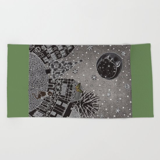 'Twas a Moonlit Winter Night Beach Towel