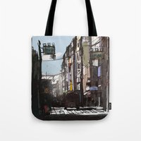 tokyo Tote Bags featuring Tokyo by Jonas Ericson