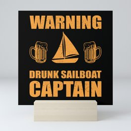 Drunk Sailboat Captain | Sail Boat Saling Mini Art Print