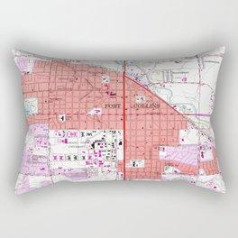 Vintage Map of Fort Collins Colorado (1960) Rectangular Pillow