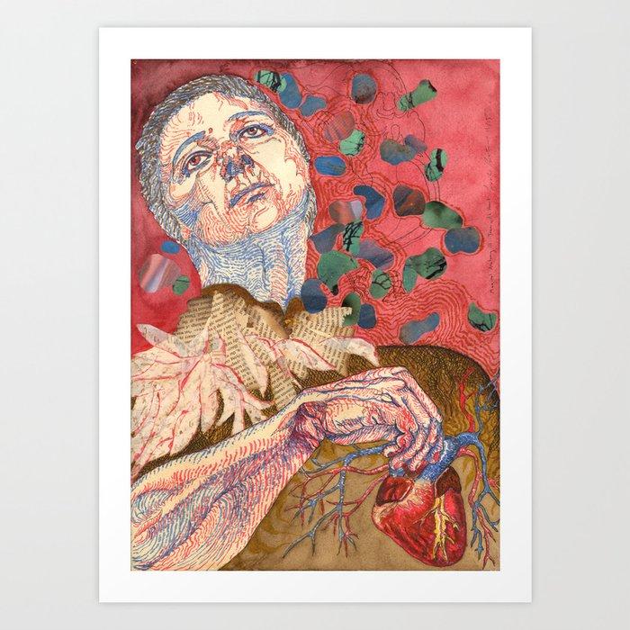 Magical Anatomy:  Joan With Heart Art Print