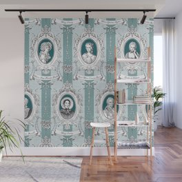 Science Women Toile de Jouy - Teal Wall Mural