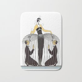 "Art Deco Design ""Improvised Cage"" by Erté Bath Mat"