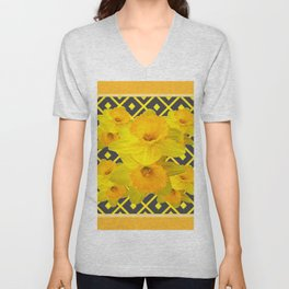 Golden Daffodils Grey Art Design Unisex V-Neck