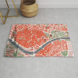 Seville city map classic Rug