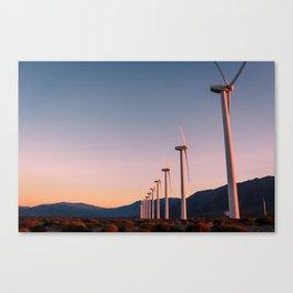California Desert Windmills at Sunset with Mountain Vistas Canvas Print