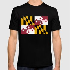 State flag of Flag Maryland Black Mens Fitted Tee MEDIUM