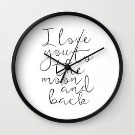 I Love You To The Moon And Back, Stars Print,Kids Room Decor,Nursery Decor,Kids Gift,Children Quote, Wall Clock