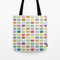 macaroon Tote Bags featuring Colorful macaroon set by MiartDesignCreation