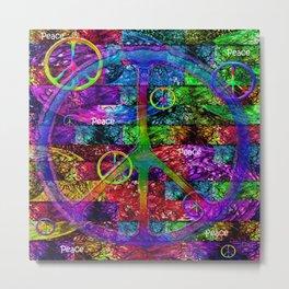 Peace Symbol Rainbow Flag Metal Print